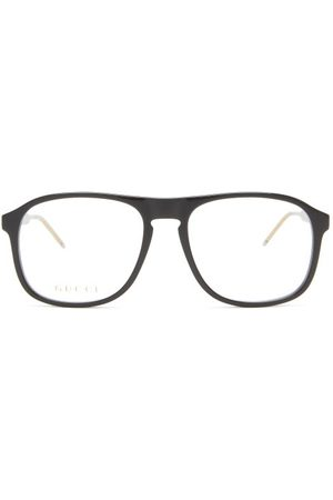 Gucci Aviator Acetate Glasses - Womens - Black