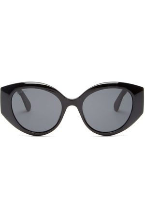 Gucci GG-logo Quilted Cat-eye Acetate Sunglasses - Womens - Black Grey