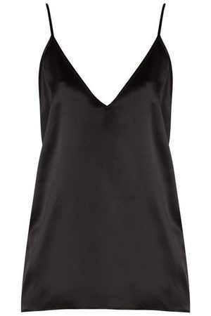 Raey V-neck Silk-satin Cami Top - Womens - Black
