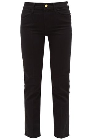 Frame Dames Straight - Le High High-rise Cropped Straight-leg Jeans - Womens - Black