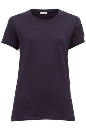 Moncler Dames Shirts - Velvet Logo-appliquéd Cotton T-shirt - Womens - Navy