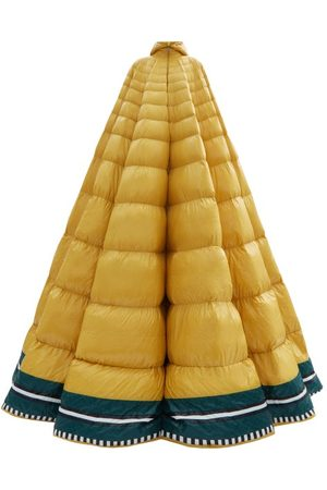 Moncler Pierpaolo Piccioli Erminia Hooded Striped Down-filled Gown - Womens - Yellow Multi