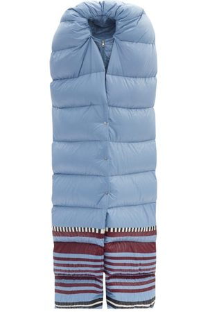 Moncler Pierpaolo Piccioli Adelaide Striped-hem Padded-scarf Jacket - Womens - Light Blue