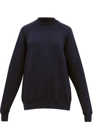 Les Tien High-neck Brushed-back Cotton Sweatshirt - Womens - Navy