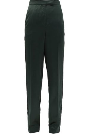 Ssone Metta Skinny-leg Side-striped Satin Trousers - Womens - Emerald