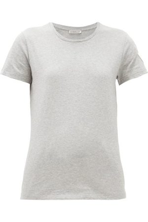 Moncler Logo-appliqué Cotton T-shirt - Womens - Grey