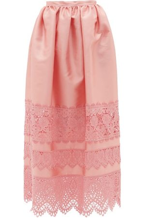 Erdem Jennifer Guipure Lace-trimmed Midi Skirt - Womens - Pink