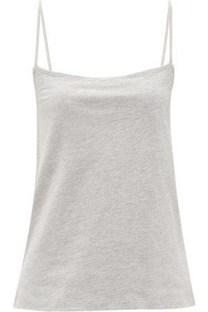 Raey Square-neck Cotton-blend Jersey Vest - Womens - Grey Marl