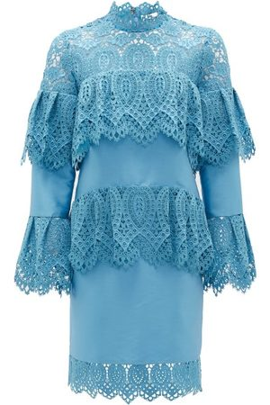 Erdem Lyndell Layered Guipure-lace & Mikado Satin Dress - Womens - Blue
