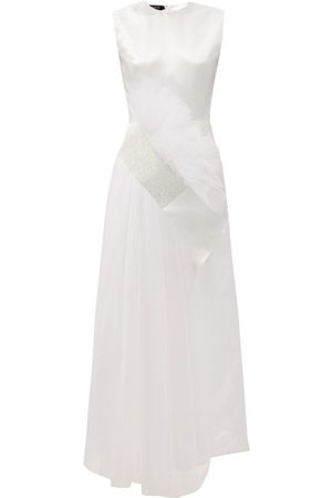 GERMANIER Dames Galajurken - Crystal-embellished Tulle And Upcycled-satin Gown - Womens - White