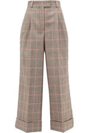 Miu Miu Dames Wijde broeken - Prince Of Wales-check Wool Wide-leg Trousers - Womens - Multi