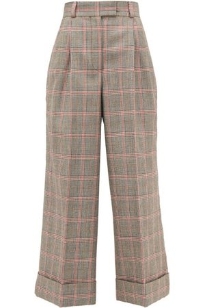 Miu Miu Prince Of Wales-check Wool Wide-leg Trousers - Womens - Multi