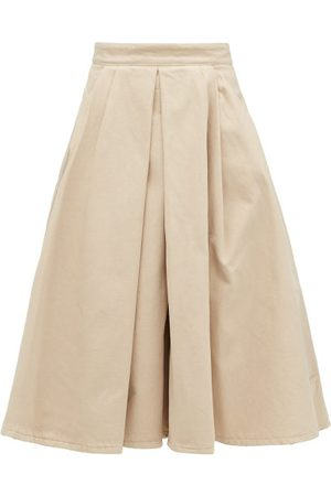 Prada Box-pleated Denim Midi Skirt - Womens