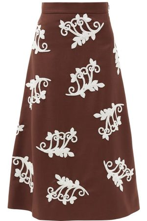 Prada Bead-embellished Mohair-blend Midi Skirt - Womens - Brown