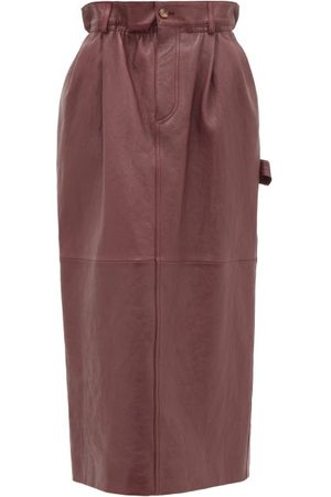 Miu Miu High-rise Paperbag-waist Leather Midi Skirt - Womens - Dark Red
