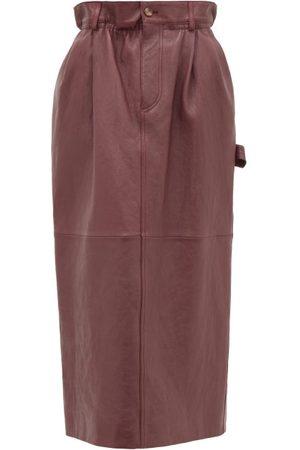 Miu Miu High-rise Paperbag-waist Leather Midi Skirt