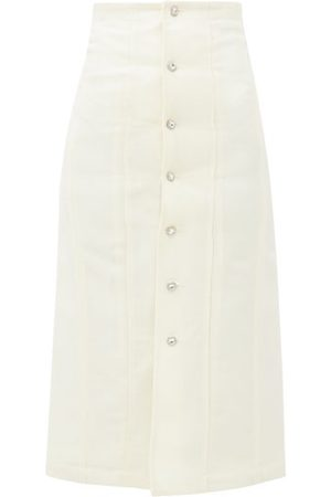 Edward Crutchley Swarovski Crystal-encrusted Wool Midi Skirt - Womens - Ivory