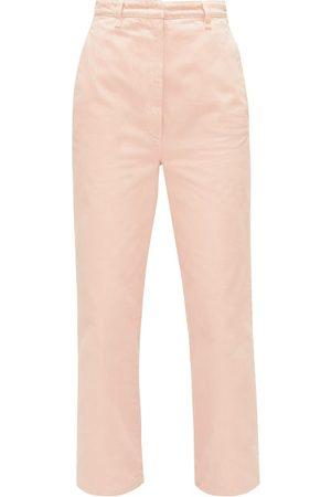 Prada High-rise Front-pleat Straight-leg Jeans - Womens - Light Pink