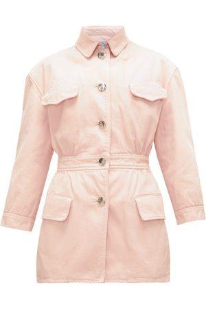 Prada Gathered-waist Denim Jacket - Womens - Light Pink