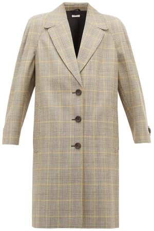 Miu Miu Dames Wollen jassen - Prince Of Wales-check Virgin Wool Coat - Womens - Multi