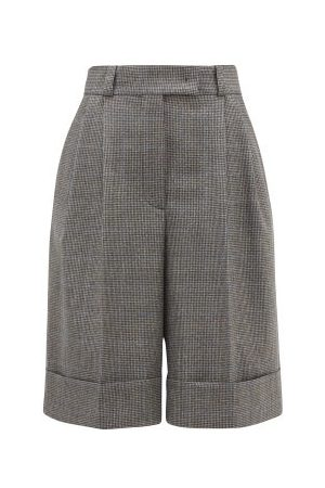 Miu Miu Pleated Wide-leg Houndstooth Shorts - Womens - Tobacco