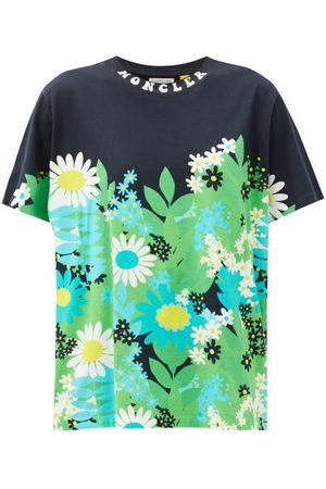 Moncler Genius Floral-print Cotton-jersey T-shirt - Womens - Green Multi