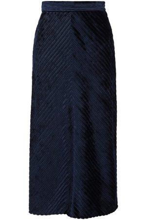 Prada Dames Midi rokken - Chevron-devoré Velvet Midi Skirt - Womens - Blue
