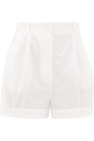 Prada Dames Shorts - High-rise Buttoned-cuff Cotton Shorts - Womens - White
