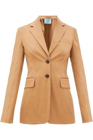 Prada Single-breasted Cotton-blend Gabardine Suit Jacket - Womens - Camel