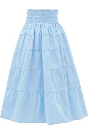 Prada Smocked Cotton-poplin Skirt - Womens - Light Blue
