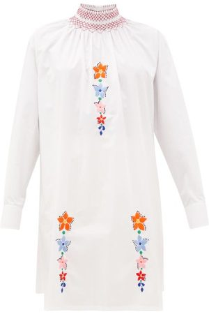Prada Floral-embroidered Cotton-poplin Tunic Blouse - Womens - White Multi