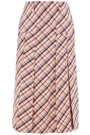 Prada Checked Wool-twill Skirt - Womens - Red White
