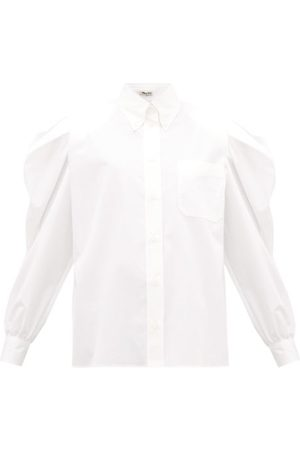 Miu Miu Puff-sleeve Cotton-poplin Shirt - Womens - White