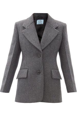 Prada Tailored Single-breasted Wool-twill Jacket - Womens - Grey Multi