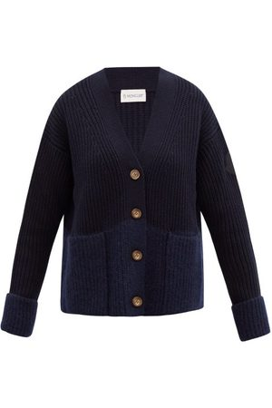 Moncler Dames Cardigans - Two-tone Ribbed Wool-blend Cardigan - Womens - Navy