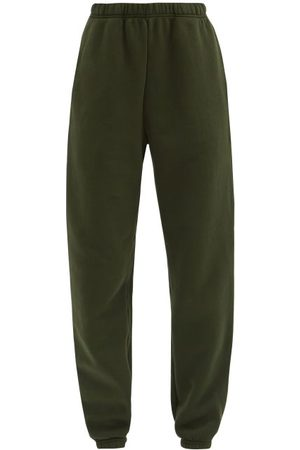Les Tien Brushed-back Cotton Track Pants - Womens - Khaki