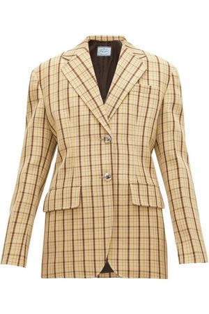 Prada Dames Wollen jassen - Single-breasted Checked Wool Blazer - Womens - Multi