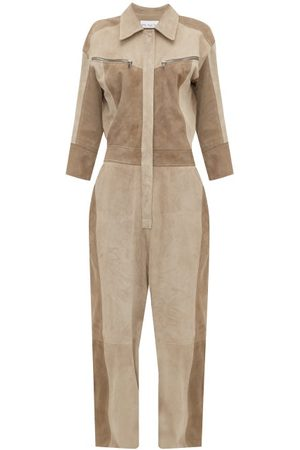Raey Patchwork Suede Jumpsuit - Womens - Grey Multi