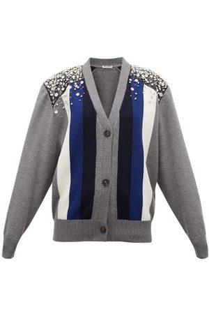 Miu Miu Crystal-embellished Striped Wool Cardigan - Womens - Grey Multi