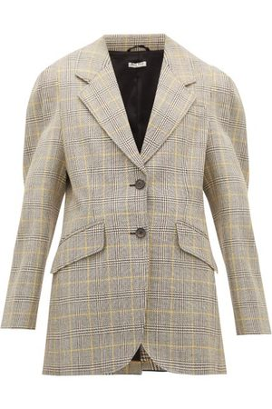 Miu Miu Prince Of Wales-check Virgin Wool Blazer