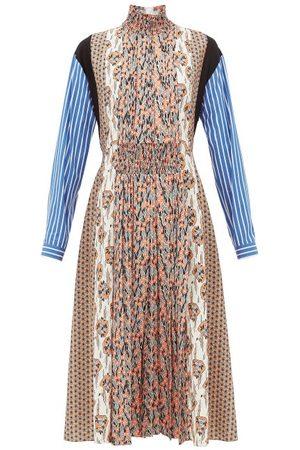 Prada Dames Geprinte jurken - High-neck Patchwork-print Sablé Midi Dress - Womens - Orange Print