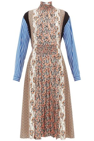 Prada High-neck Patchwork-print Sablé Midi Dress - Womens - Orange Print