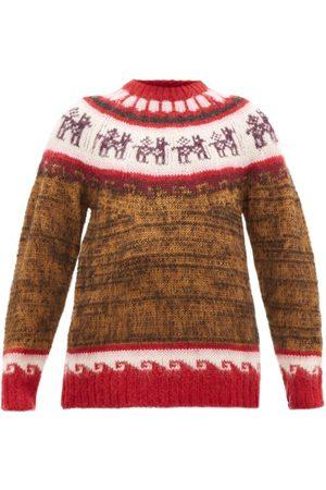 Miu Miu Alpaca-jacquard Sweater - Womens - Brown Multi