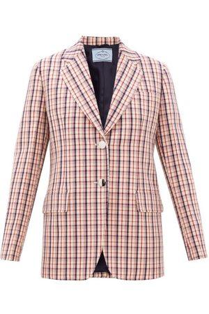 Prada Dames Wollen jassen - Single-breasted Checked Wool-twill Jacket - Womens - Red White