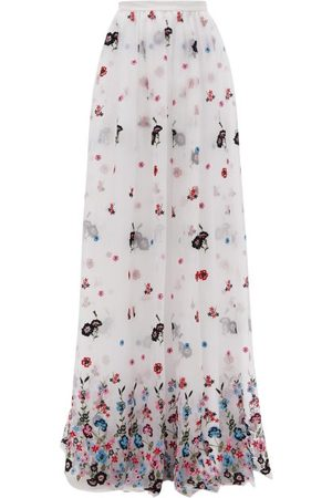 Erdem Lydell Floral-embroidered Organza Maxi Skirt - Womens - White Multi