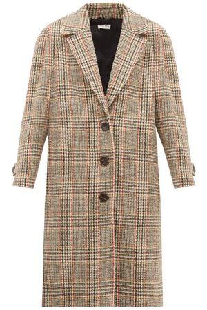 Miu Miu Single-breasted Checked Wool-tweed Coat - Womens - Multi