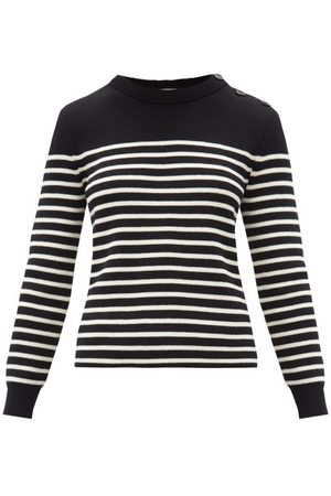 Saint Laurent Striped Cotton-blend Sweater - Womens - Black White