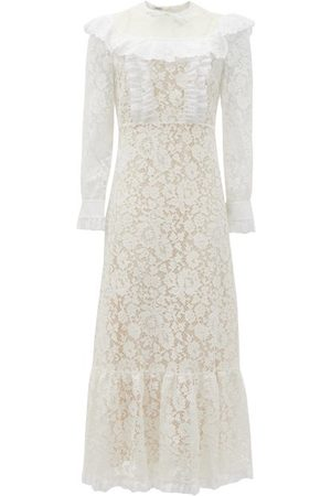 Miu Miu Floral-lace And Broderie-anglaise Cotton Dress - Womens - White