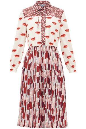 Prada Lipstick-print Pleated Shirt Dress - Womens - Red White