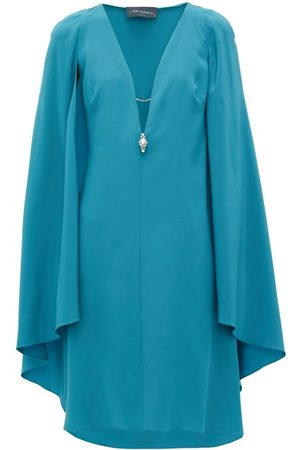 Julie De Libran Dames Poncho's & Capes - Bluebird Cape-sleeve Silk-crepe Dress - Womens - Blue